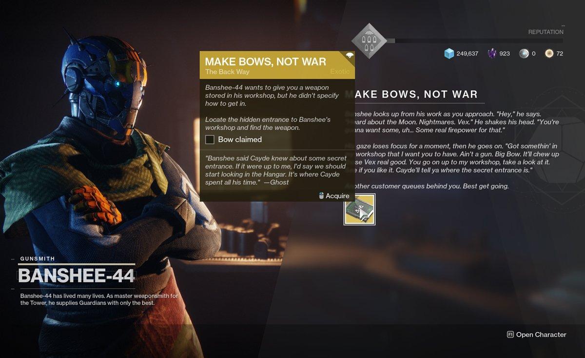 make bows not war quest